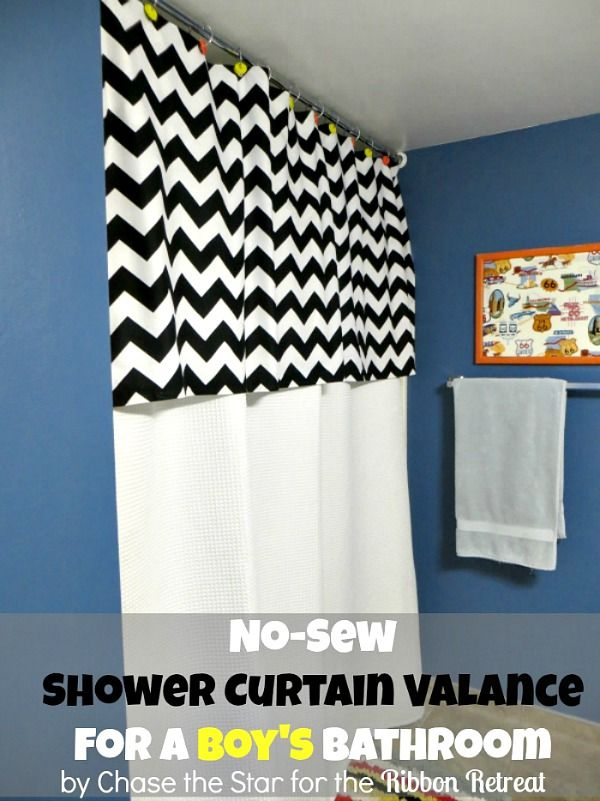 I made this fun 'No-Sew' Shower Curtain Valance for my Boy's Bathroom, LOVE IT!