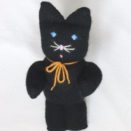 Doudou chat noir - poupée chat en laine hauteur 30 cm tricoté à la main - idée cadeau noël anniversaire bébé enfant fille garçon femme homme