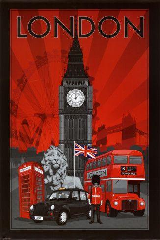 London travel poster (big ben, telephone box, union jack, double decker bus)