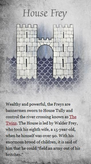 House Frey (Game of Thrones): Thrones Photo, Crossword Puzzles, Thrones Houses, Houses Frey, Games Of Thrones, Gameofthron Photo, Frey Gameofthron,  Crossword, Game Of Thrones