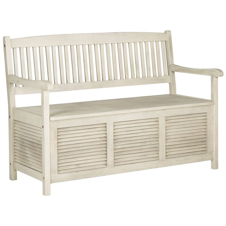 Westmore Distressed White Outdoor Storage Bench - Style # 1T833