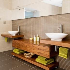 30 Stunning Modern Bathroom Design Ideas 2012 : Modern Bathroom Design Ideas 2012 – Raw wood bathroom with twin basin