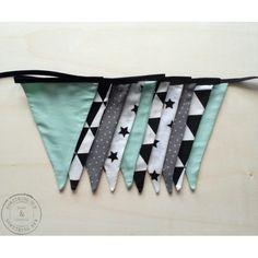 Stoffen vlaggenlijn Handmade Black/Mint