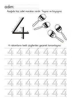 Dört 4 Rakami çizgi çalişmasi Rakamlar Word Search Equation