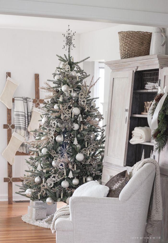 Neutral Christmas Living Room Love Grows Wild Elegant Christmas Trees Beautiful Christmas Trees Christmas Tree Decorations