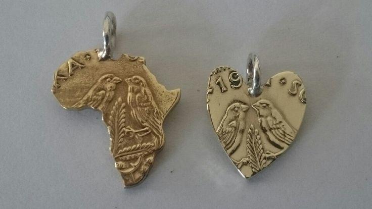 Handmade half cent coin Africa & heart pendants