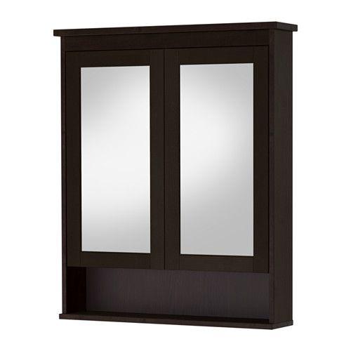 IKEA   HEMNES, Mirror Cabinet With 2 Doors, Black Brown Stain, 32