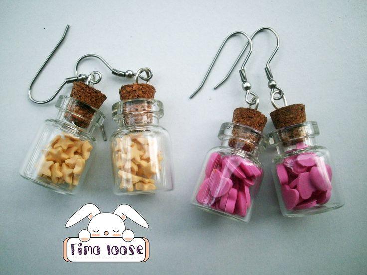 fimo polymer clay orecchini earrings jar