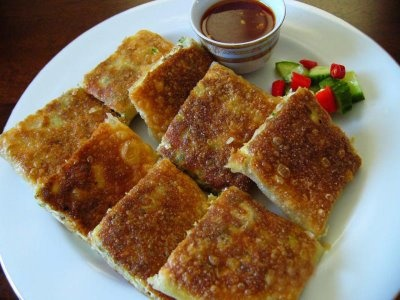MARTABAK TELOR! An Indonesian food. I guess it's like an omlet, just more crunchy! x)