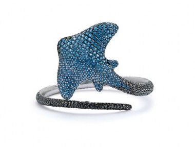 A sapphire and diamond stingray bracelet.