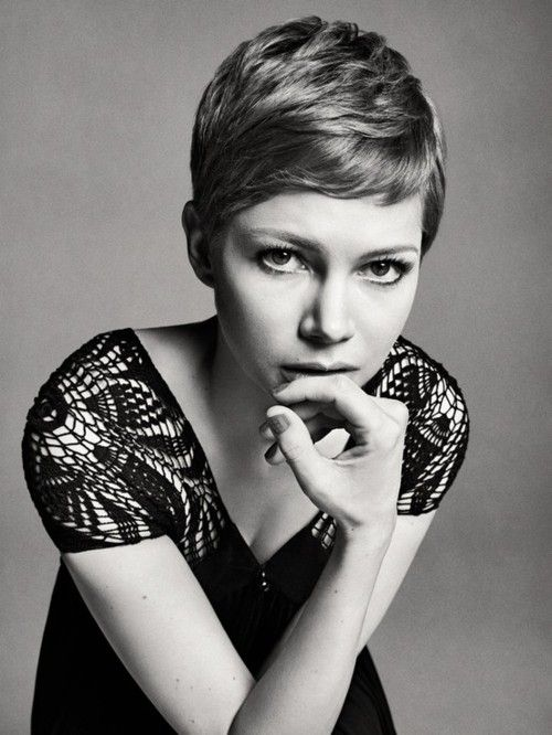 Michelle williams' short hair, notice how it's styled here