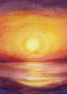 zonsopgang en zonsondergang schilderen inde 6e klas; kleuren leer