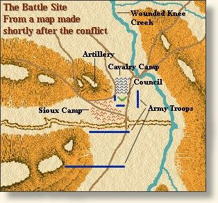 Map of Battle Area- Wounded knee 1890: Band