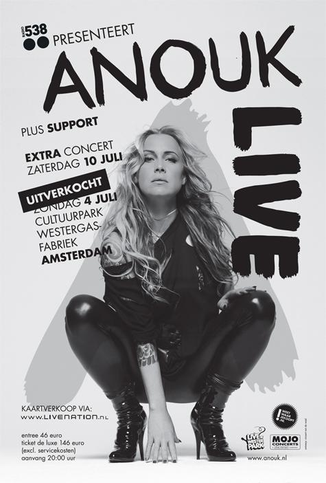 """Anouk Teeuwe, professionally known as Anouk is regarded as the most popular female rock singer in the Netherlands. """"Three Days in a Row"""" is the first official single of her sixth album 'For Bitter or Worse' that was released in 2009. One week after its release, the song was heard 22 million times on the Dutch radio: it reached the first position in the Dutch Airplay-chart."""
