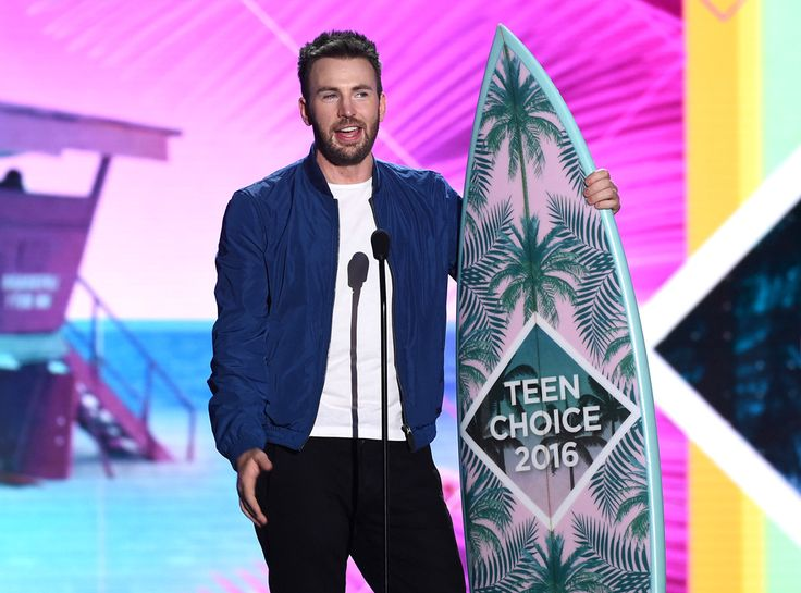 Chris Evans from Teen Choice Awards 2016 Red Carpet Arrivals  Captain America himself accepts a TCA surfboard for Choice Sci-Fi Movie Actor.
