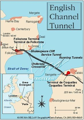 English channel tunnel map.