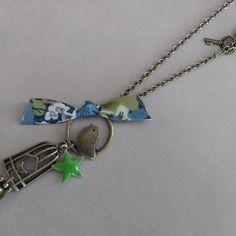 """Collier chaine """"liberty bird"""" tissu vert"""