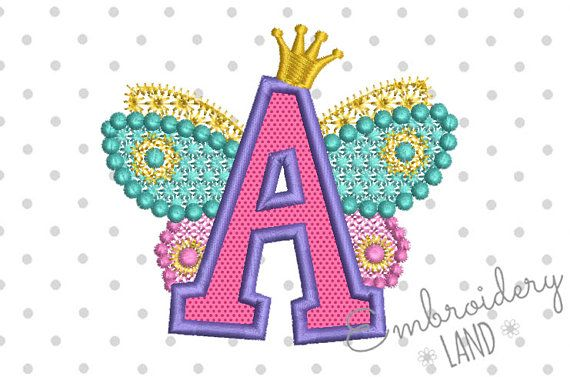 Letra de hadas A para Lil Princess alas apliques bordado