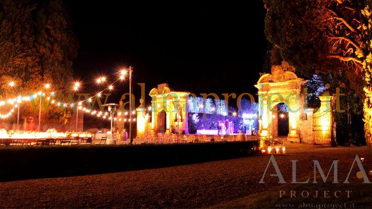 ALMA PROJECT @ Villa di Geggiano - bulbs lighting - garden - amber uplights - 334