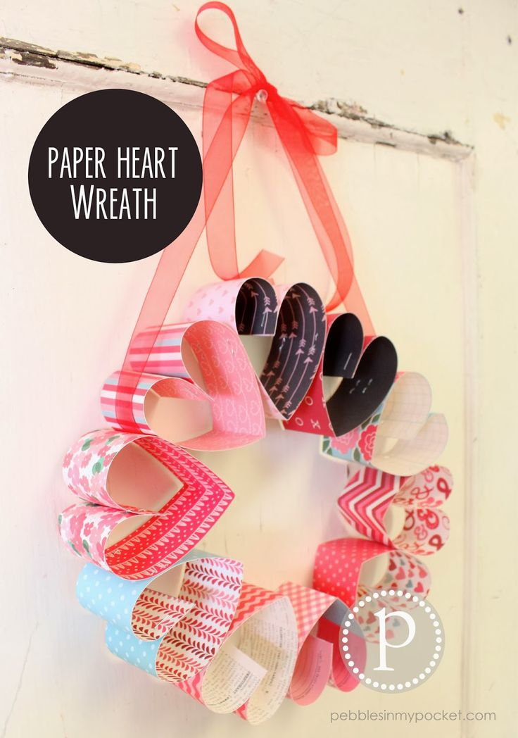 Pebbles In My Pocket Blog - paper heart wreath