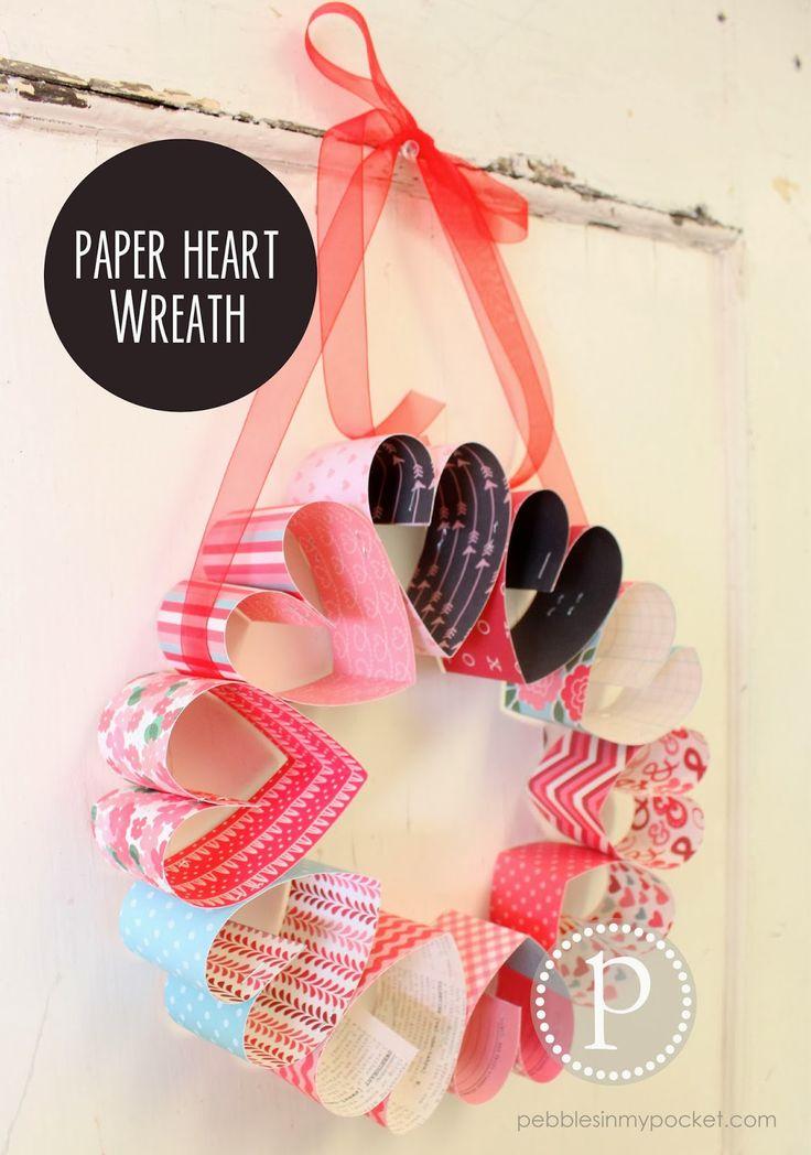Pebbles In My Pocket Blog - paper heart wreath