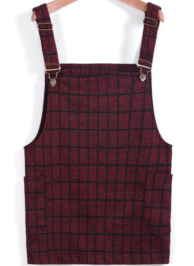 Shop Wine Red Strap Plaid Pockets Woolen Dress online. Sheinside offers Wine Red Strap Plaid Pockets Woolen Dress & more to fit your fashionable needs. Free Shipping Worldwide!