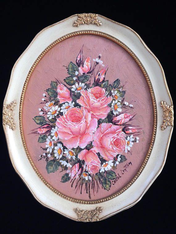Carol Linton Original Oil Painting. Still Life Roses Vintage