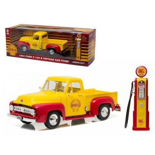 1953 Ford F-100 Pickup Truck Shell Oil with Vintage Gas Pump 1/18 Diecast Model Car by Greenlight