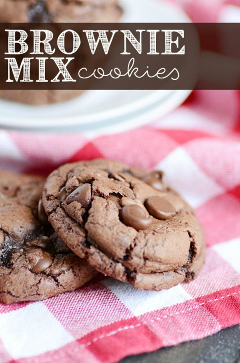 Fudgy delicious Brownie Mix Cookies - use as the cookie base for peppermint kiss cookies