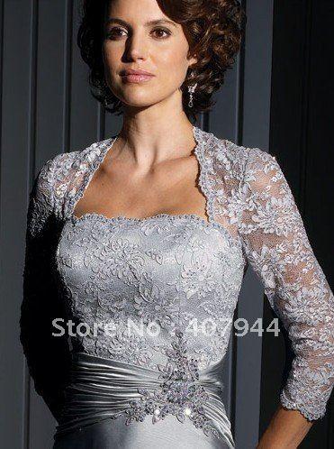Venta caliente silver satin y encaje una línea de cuerpo entero madre de la novia vestido / vestido de la madre con chaqueta de encaje