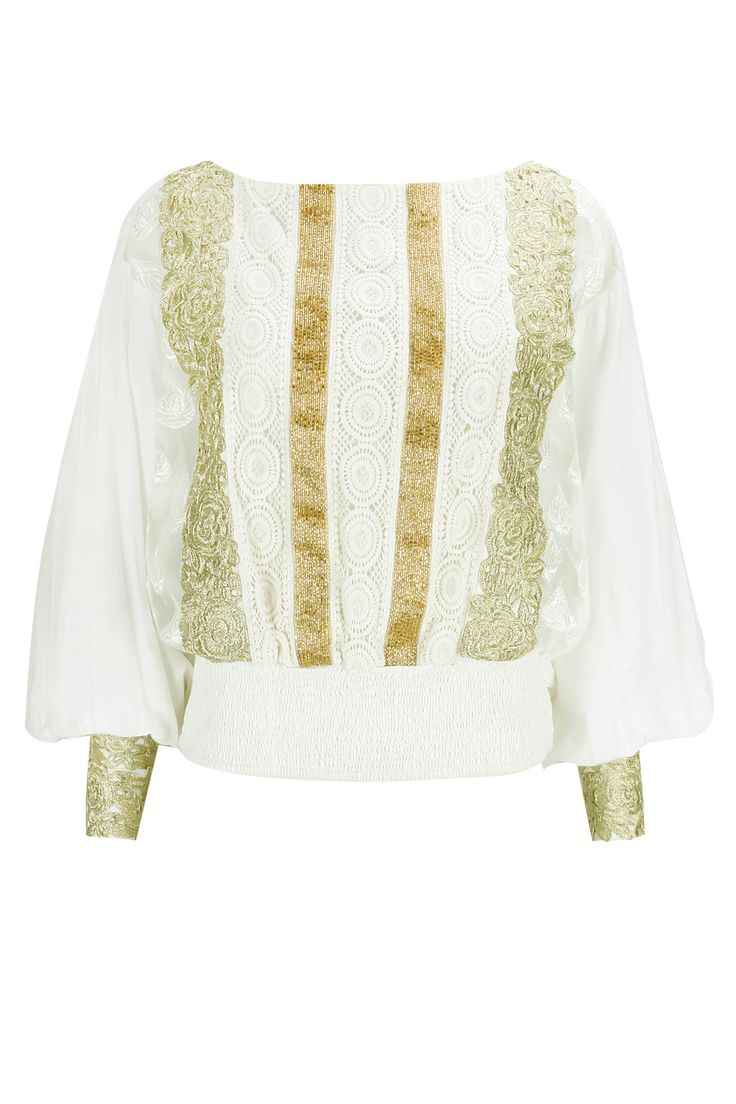 Ivory crochet embroidered top available only at Pernia's Pop-Up Shop.
