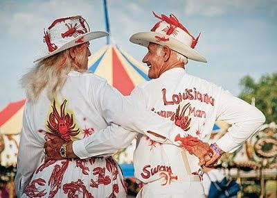 Helen and Pete Rago have been attending the Breaux Bridge Crawfish Festival for ages. They always come in full costume and they dance until the sun goes down. | Breaux Bridge, Louisiana #myhometownpins