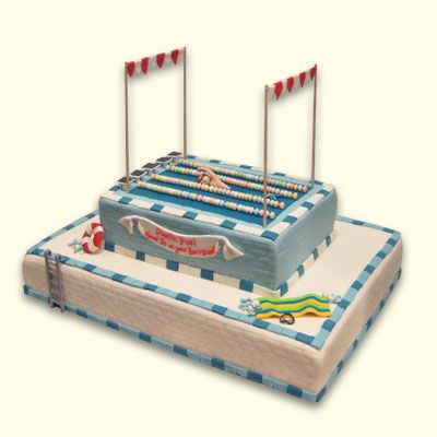 olympic swimming pool cake sports round cake carved sports car
