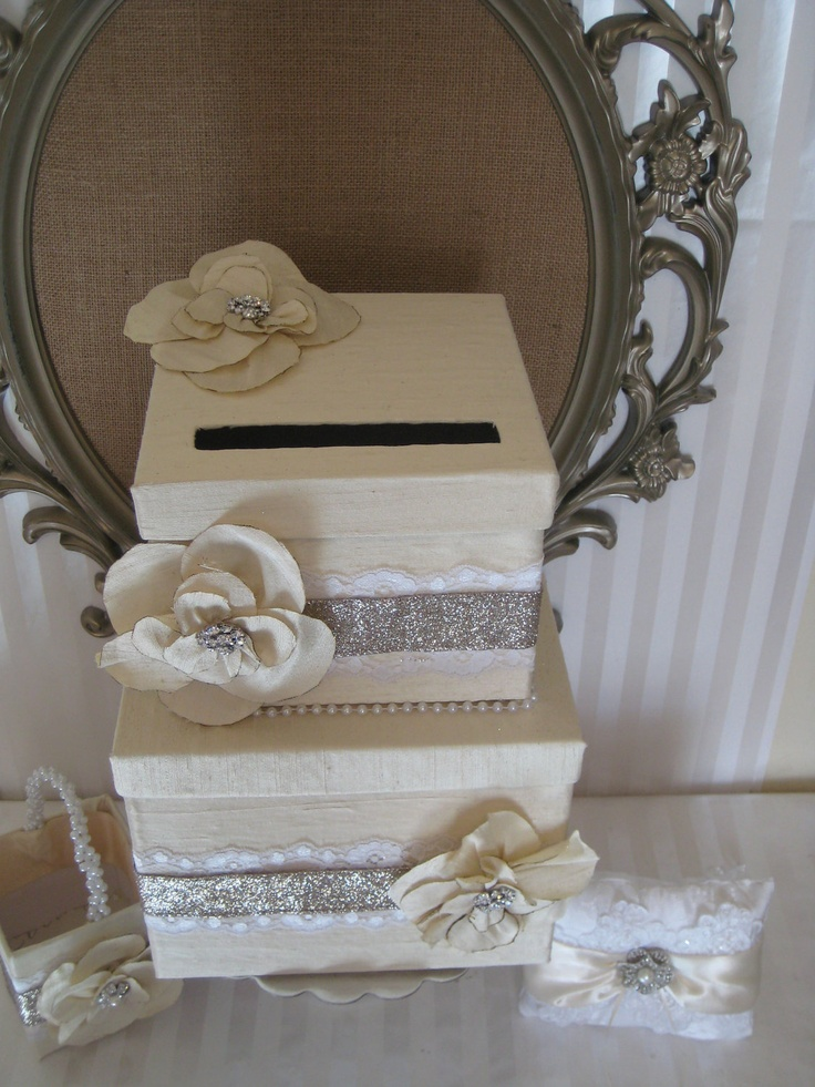"""Wedding Card box - The """"Alexis"""" Collection-  Ivory silk card box with Monogram Name Plate CUSTOM-4-RICHELLE ONLY"""