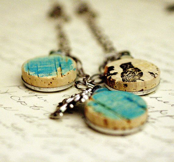 Wine Cork Necklace Bluebirds Upcycled Silver by by uncorked, $24.00