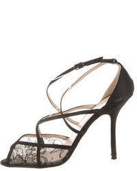 Schwarze Sandaletten aus Netzstoff von Christian Louboutin