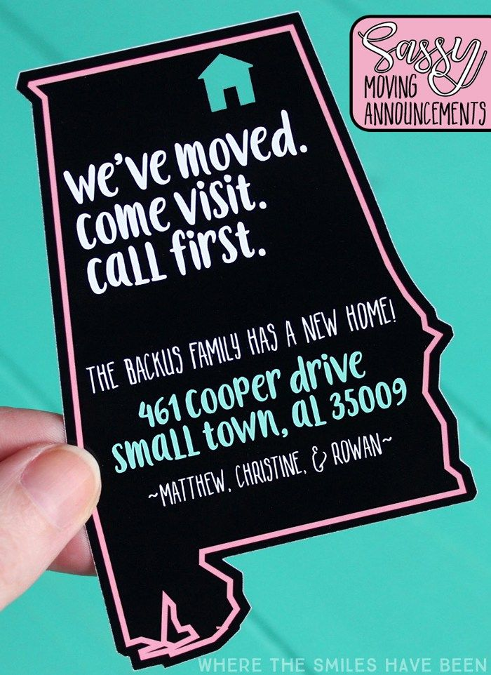 Haha, this is too funny!  What a cheeky little way to tell people your new address!  And you can easily customize it to any state or country with a Silhouette or Cricut!  DIY Sassy Moving Announcements   Where The Smiles Have Been