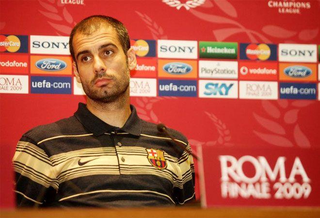 Final de la 'Champions'  Guardiola en la rueda de prensa previa a la final de la Liga de Campeones de Roma de mayo de 2009.