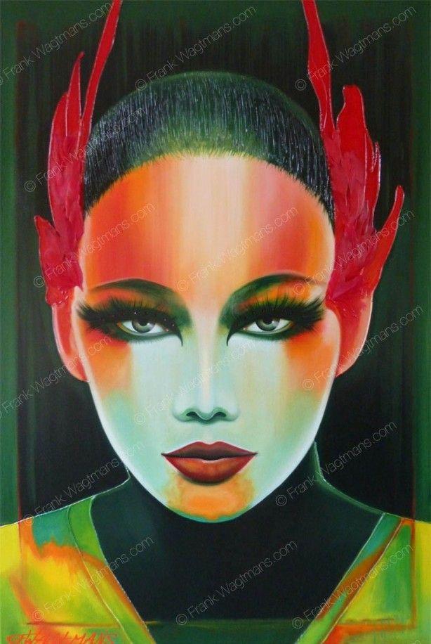 Stoere woonkamer inspiratie: design schilderij. Kleurrijke knaller waar de energie vanaf spat! Spectaculair en uitbundig portret. Zeer stoer, ultra-modern kunstwerk. Inspirerend!!!