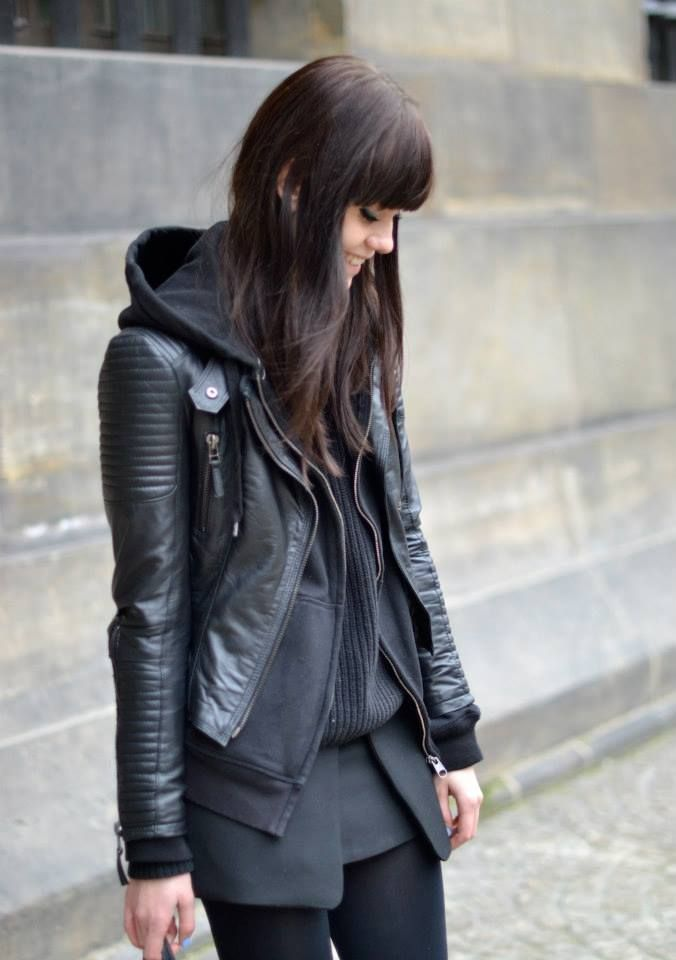 Layering your leather jacket with a simple hoodie add warmth and is perfect for autumn layering!