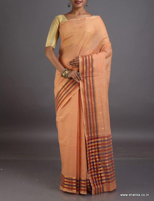Dheeraja Pastel Colored Striped Border Pallu #VenkatgiriCottonSaree