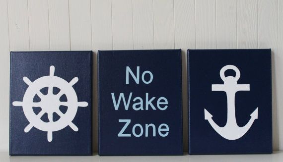 Nautical Nursery Painting Decor Ship's Wheel No Wake Zone Sign Anchor Navy Light Blue Nautical Bathroom Decor