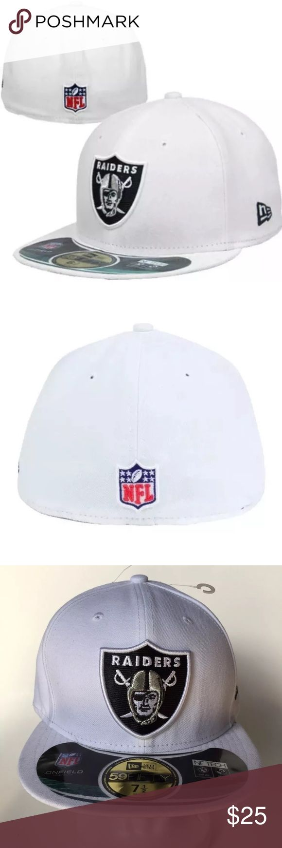 New Era 59Fifty Oakland Raiders On Field Hat 7 1/2 New Era 59Fifty Oakland Raiders Official On Field Fitted Hat Cap Size 7 1/2  Brand : NewEra  Style : 59Fifty  Size : 7 1/2  Color : White  Material : 100% Polyester  Embroidered black New Era logo on the left side of the hat New Era Accessories Hats