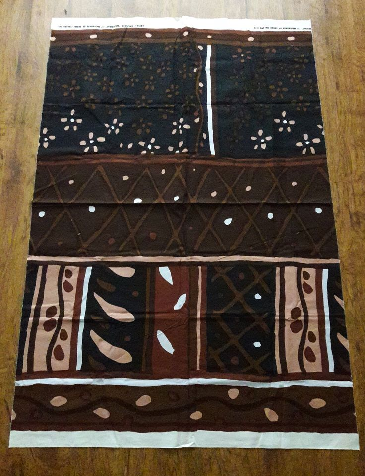 Vintage Marimekko Fabric Brown Print Cotton 54″x36″ Oy Suomi Finland 1973 Katsuji Wak/Saka Markkinat, Drapery, home decor, clothing design