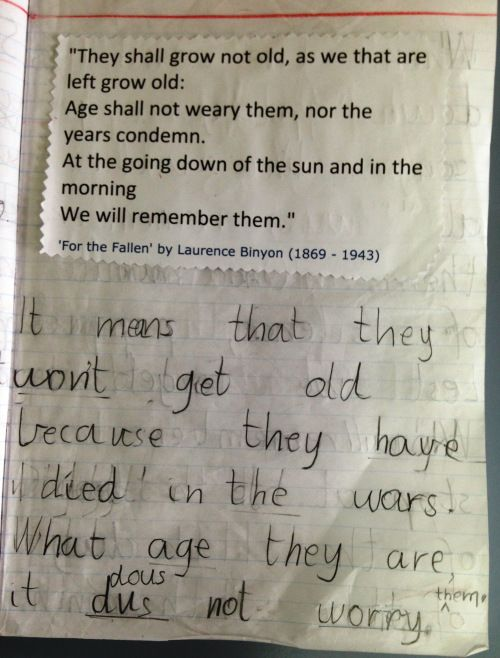 The task: A written response to explain what the Ode means to them. My students are responsible for editing their writing. They have their '...