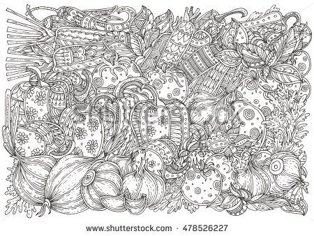 Vegetables And Herbs Hand Drawn Pattern In Black White Adult Coloring Book