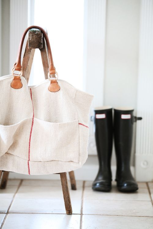 Grain sack tote from Dreamy Whites