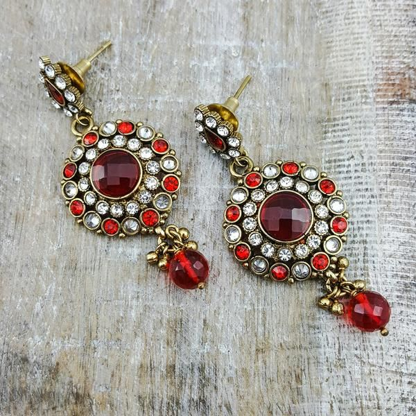 Matsya - These charming retro earrings with red accents are as romantic as can be and will turn any outfit into opulent attire.