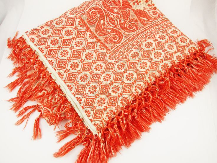 Orange and Ivory Reversible Throw - Textured Weave With Fringe - Deep, Burnt Orange - Synthetic Throw - Mix and Match by AllVintageFabrics on Etsy