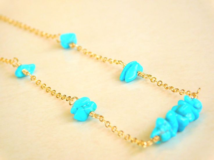 Turquoise Necklace, Delicate, Dainty Necklace, Gold Filled Chain by jljewellerydesign on Etsy